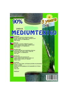 Belátásgátló, szélfogó és árnyékoló háló MEDIUMTEX 160 1,2x50m 90% / 28577